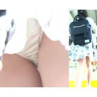 [★顔出し]パンチラ盗撮 女子大生 白パンツに超接近撮影