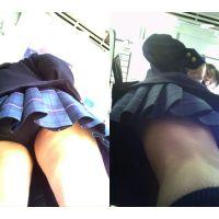 【黒】制服女子が電車内で前かがみで丸見え!