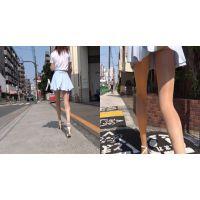 [FHD] 街撮り 水色ヒラヒラミニスカートのお姉さん 002