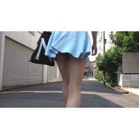 【フルHD】 街撮り 水色ヒラヒラミニスカートのお姉さん 001