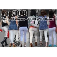 vol308-ぴったりタイトホワイトパンツのヒップライン