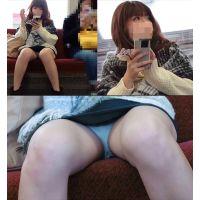 ※電車内盗撮※対面に座る美女の無防備白パンツ〜 (フルHD動画)