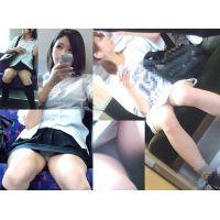 Wセット制服学生&激かわ私服少女の赤裸裸電車内パンチラ盗撮動画集