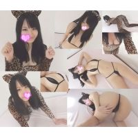 ☆Kモデル のぞみちゃんシリーズ� 猫耳ヒョウ柄→マイクロビキニ(黒) 猫耳姿でセクシーポーズ