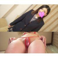 ☆Kモデル さやかちゃんシリーズ� 制服→マイクロビキニ(赤) セクシー衣装でポージング撮影