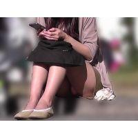 【お祭シリーズ004】 ミニスカ生足から覗くピンクを至近距離で