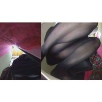 ショップパンチラ&試着室 2015-12 美脚黒ストッキングに青パンティ