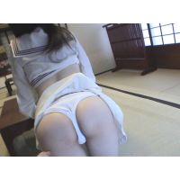 激レア白セーラー服女子と和室DE綿パンティ♡