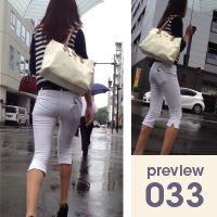 【033】白パンの中身の白パンスケスケ!長身スレンダー白カプリパンツ女子