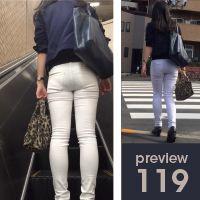 【119】鮮度抜群もぎたてバナナ尻!ピチピチ白スキニーパンツ女子(後編)