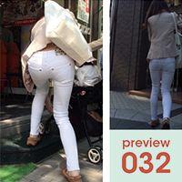 【032】ナイス腰チラ!小柄スレンダー系ピチピチ白スキニーパンツ女子