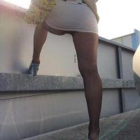 長身168cm!茶髪ロング姉さんのスケスケタイトミニの透けパンティ&パンスト -その3