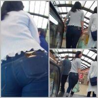 tight jeans girls9(FHD)part2/タイトジーンズのデカ尻ギャルのショッピングに密着追跡!!