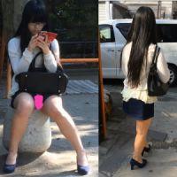 【盗撮】超エロそうな素人に再開!公園でパンツ丸見え!