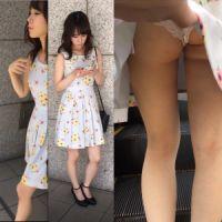 【盗撮】バレた?!清楚ギャルのスカートめくり→白のスケスケパンツ