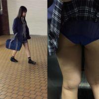 【盗撮】駅にいた制服女子のスカートめくりパンチラ!