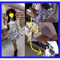 【何するんですか!?】 ←めくりバレて逃走。。。青花柄スカート巨乳JDちゃんのラベンダー色p長時間4K盗撮!!