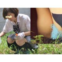 庭で草刈りJKちゃん 一生懸命で無防備パンチラ