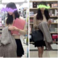 【長身色白ロリ系美少女】買い物中、白地に黒模様のPが可愛い!【階段下から丸見え】