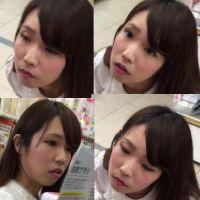 【100円ショップで盗撮】カワイイ!アイドル級のミニの下は純白(股を開いて?!)