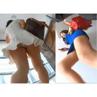 【階段パンチラ!】後ろから!さらにすれ違いざまにも捉えた二人のお姉さんパンチラ!!!
