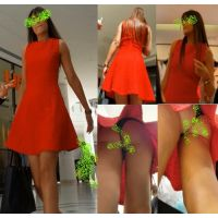 【赤いドレスを着てパンチラ露出するエキゾチックなお姉さんを盗撮!!!!!】