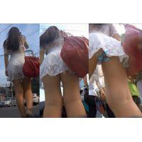 【Tバック盗撮】スクランブル交差点で群衆に紛れミニスカお姉さんのパンティーを逆さ撮り!!!