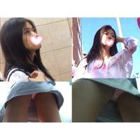 ☆根元へ舌を這わしたくなるピチピチ生足☆モデル級!!清純派の美人のピンク生p