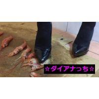 クラッシュ動画 有頭エビ6尾 【エナメルパンプス】