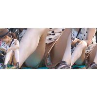 【中編】アイドルみたいに可愛い若ママさんはショートパンツのワキから花柄のパンティーが恥ずかしく覗いているのに気付かない!!
