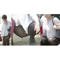 物凄いボリュームの美巨乳を揺らす可愛い若ママさんはタイツ美脚をガッツリ開いて蒸れた股間を見せつける!!