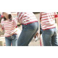 お上品な奥様は形の良い美尻に蒸れたジーンズをピッタリと張り付ける!!