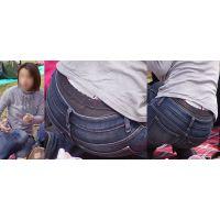 清潔感たっぷりの真面目そうで綺麗な奥様はジーンズの腰から蒸れた黒いガードルショーツをガッツリと覗かせてくれる!!