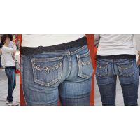 小柄で細身の清潔感溢れる可愛いママさんはジーンズ美尻にガードルで補正したラインをクッキリと浮かび上がらせる!!