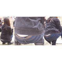 爽やかで可愛い若ママさんはジーンズの腰から蒸れた光沢の黒いパンティーをチラチラと覗かせる!!