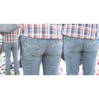 清楚だけど物凄いボリュームたっぷりの美巨尻を持つ美人奥様はジーンズがクイっと喰い込んじゃってる!!
