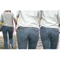 美人若ママさんはジーンズ美尻にハイレグパンティーがしっかり喰い込んで恥ずかしいライン丸出し!!