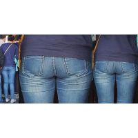 長身の清潔感溢れるムチっとした美形ママさんはジーンズ美尻に喰い込んだパンティーのラインをクッキリと浮かび上がらせる!!