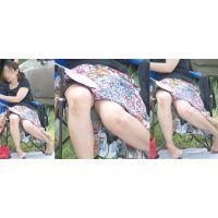 真面目そうで綺麗な奥様は暑さと疲労でスカートがはだけて生脚とスカートの奥をチラチラと覗かせる!!