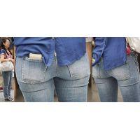 美肌が美しい色気プンプンの美形ママさんはジーンズ美尻に柔らかそうなヒップラインをクッキリと浮かび上がらせる!!