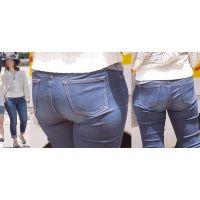 清潔感溢れる美形奥様はパッツンパッツンのジーンズ爆尻のラインを丸出しで強調させる!!