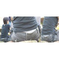 爽やかで健康的な可愛いママさんはジーンズの腰から可愛いリボン柄のグレーの綿パンティーをチラチラと覗かせてくれる!!