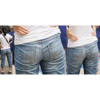 小柄で清潔感ある爽やかで可愛いママさんは汗で張り付いたジーンズ美尻にヒップラインをクッキリと浮かび上がらせる!!