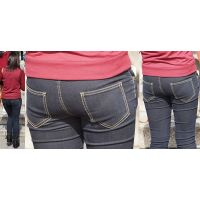 真面目で清潔感たっぷりの透明感溢れる可愛い若ママさんはジーンズ美巨尻にまん丸ヒップラインをクッキリと浮かび上がらせる!!