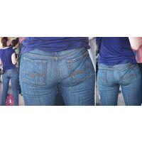 長身で色白美肌のムッチリした美形奥様はジーンズ美巨尻に喰い込んだパンティーのラインをクッキリと浮かび上がらせる!!