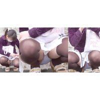 【後編】真面目でちょっと天然系の可愛いお姉さんは白いミニスカート奥で蒸れた恥ずかしいパンティーをガッツリと覗かせてくれる!!