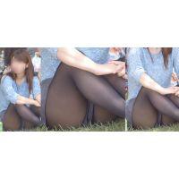 色白美形のお姉さんはタイツで蒸れた美脚の恥ずかしい股間部分をチラチラと覗かせてくれる!!