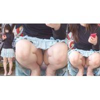 【前編】真面目そうで清楚な可愛いお姉さんはひらひらスカートの奥に蒸れた淡いピンクのパンティーをガッツリと覗かせてくれる!!