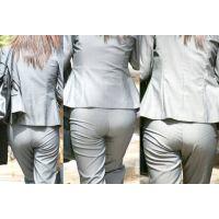 スレンダーな美人OLさんはシルバーのパンツスーツに包まれた美尻に薄っすらパンティーラインを浮かべる!!