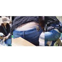 物凄い清潔感溢れる優しそうな美形ママさんはジーンズの腰から蒸れたレース縁取りのベージュパンティーをチラチラと覗かせてくれる!!
